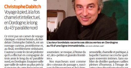 """Christophe Dabitch et """"Azimut brutal"""" dans Sud-Ouest"""